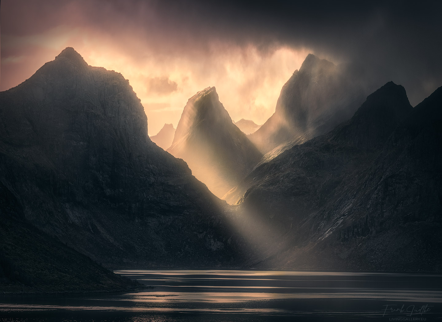 Norwegian mountains in dramatic light